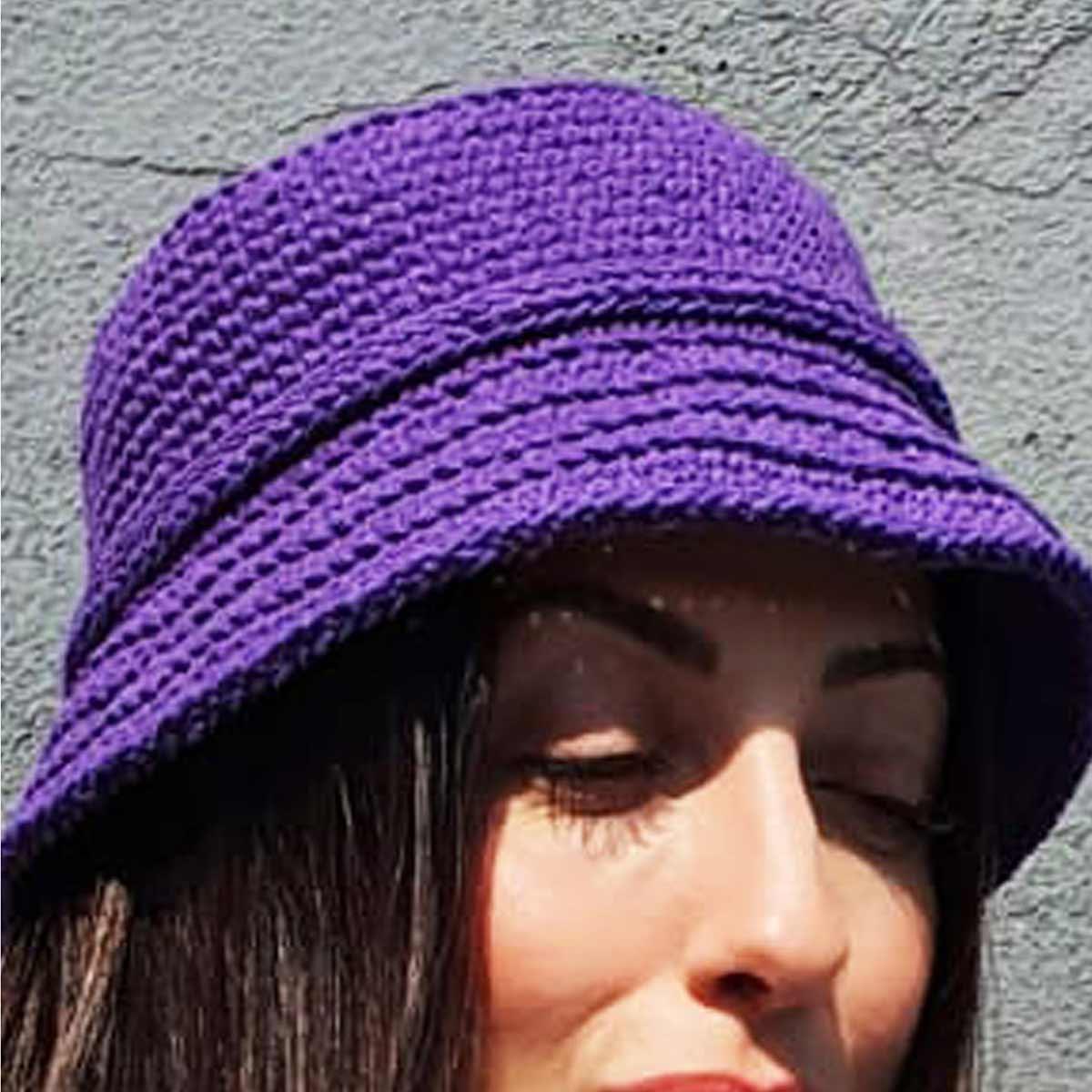 Chapéu crochê - Bucket hat - fio Ateliê