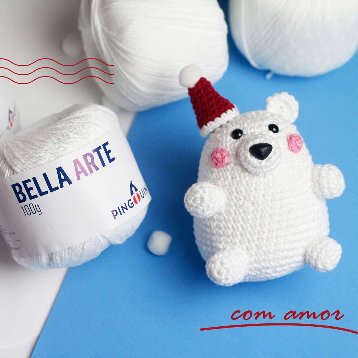 Urso polar crochê - Natal - Fio Bella Arte e Balloon