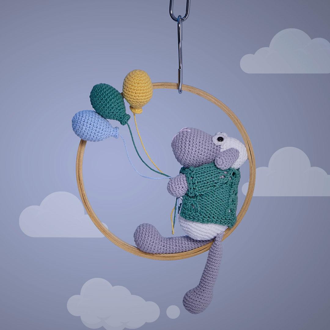Carneiro e Balões no Bastidor – Fio Balloon Amigo