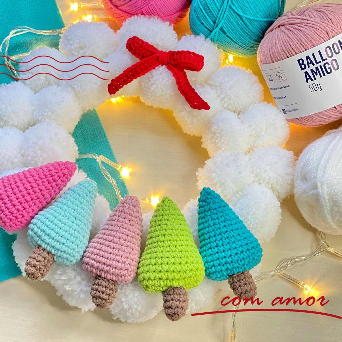 Guirlanda de natal crochê - Fio Balloon e Família