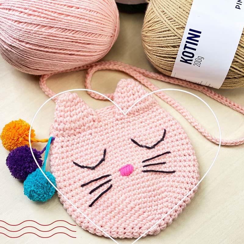 Bolsa de crochê infantil - Gatinho - fios Kotini e Balloon