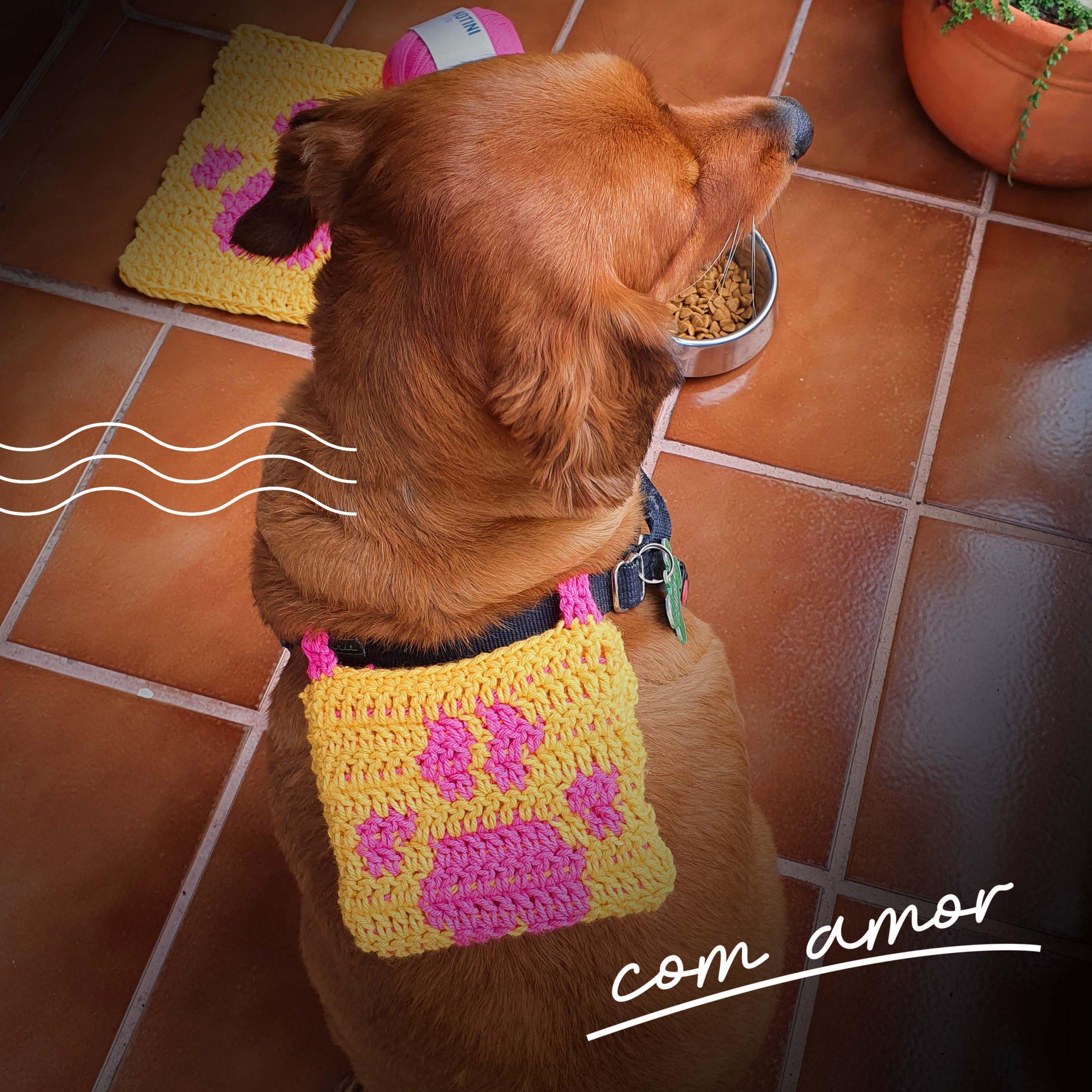 Bolsinha de crochê para dog